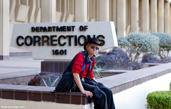 Peggy Plews of Arizona Prison Watch at a chalking action in 2011