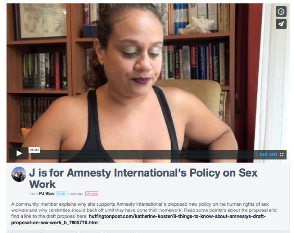 J is for Amnesty International's Policy